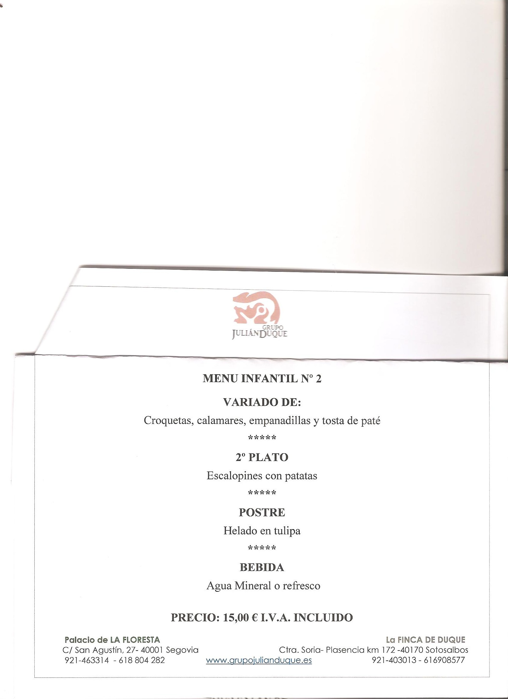 menu infantil